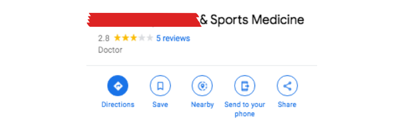 [redacted] & Sports Medicine With 2.8 Stars on Google with 5 Reviews