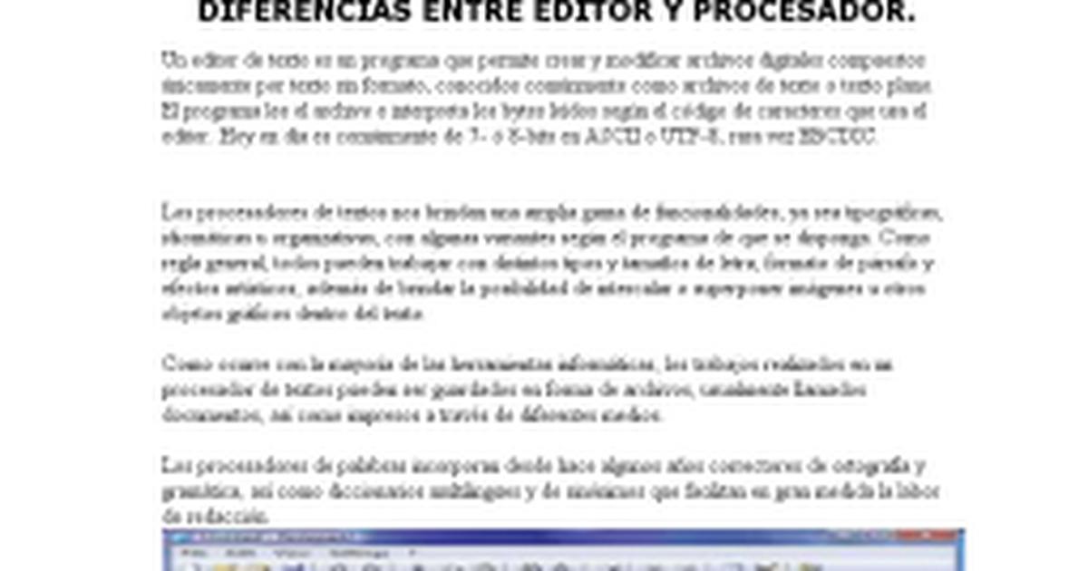 diferencia entre editor y procesador.docx - Documentos de ...