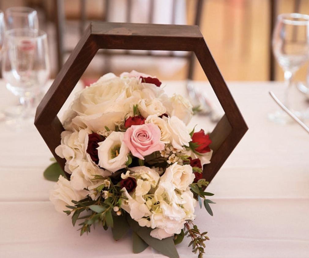 wooden hexagon frame for wedding table arrangement