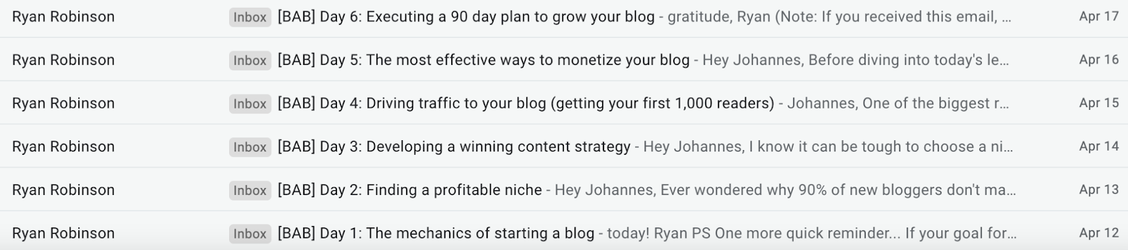 inbox with emails from ryan robinson