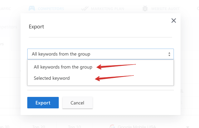 Exporting data in SERP competitors