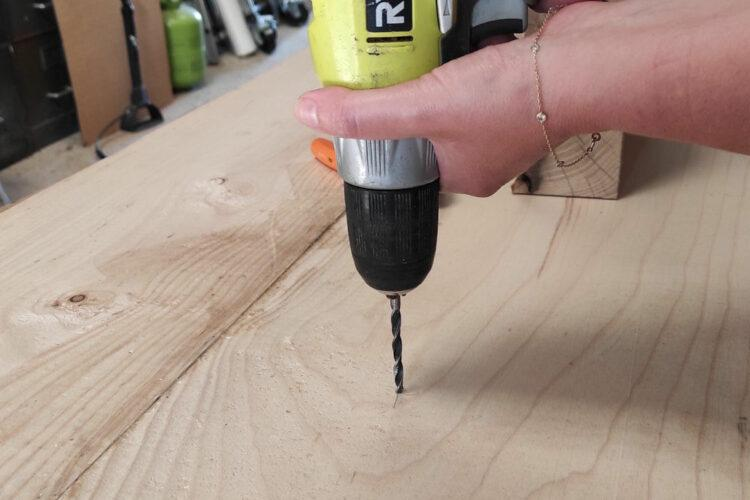 Drill legs into the coffee table