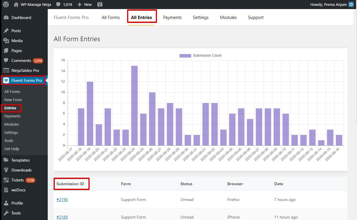 export WordPress database, WP Fluent Forms