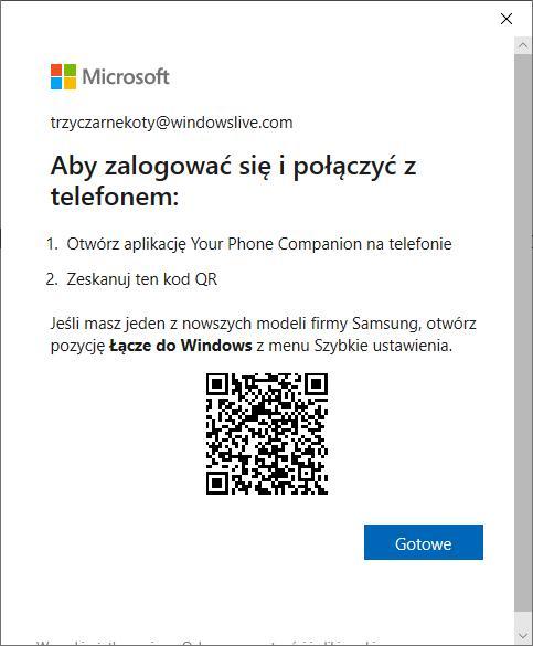 Połączenie telefonu z komputerem – Windows za pomocą funkcji Twój telefon