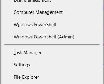 The Quick Link menu, with the Windows PowerShell and Windows PowerShell (Admin) option in the middle