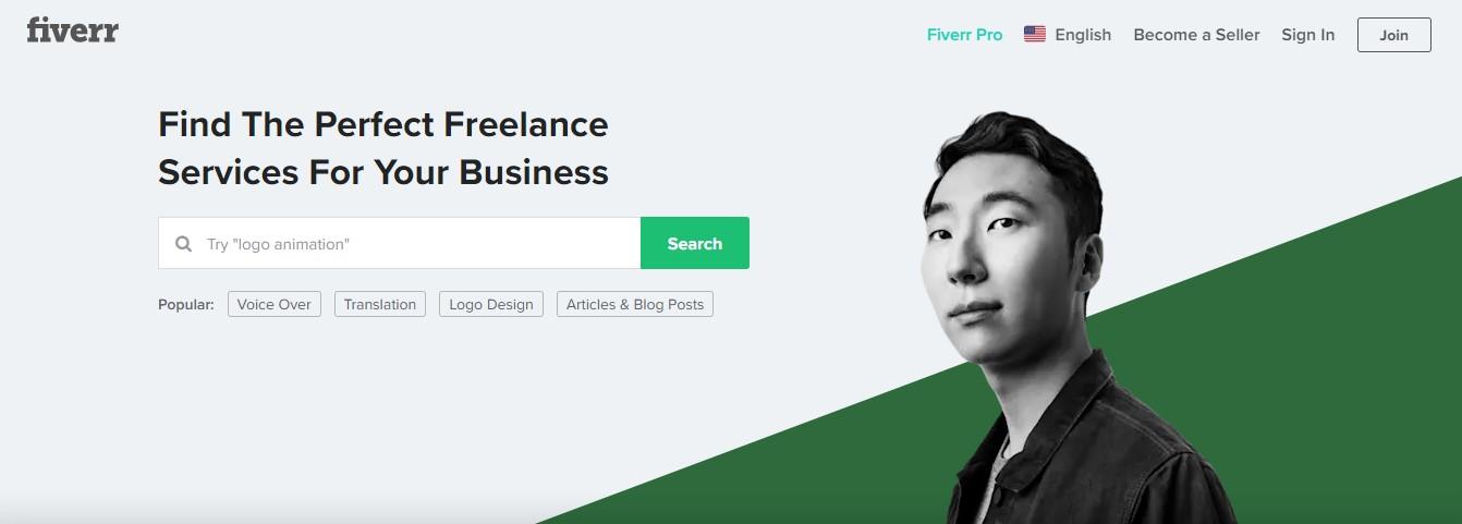 La página de aterrizaje de Fiverr.