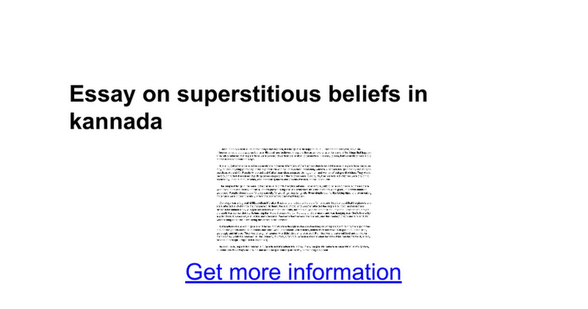 essay on superstitious beliefs in kannada google docs