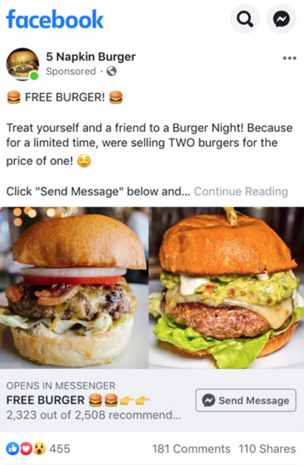 Click to Messenger ads on facebook
