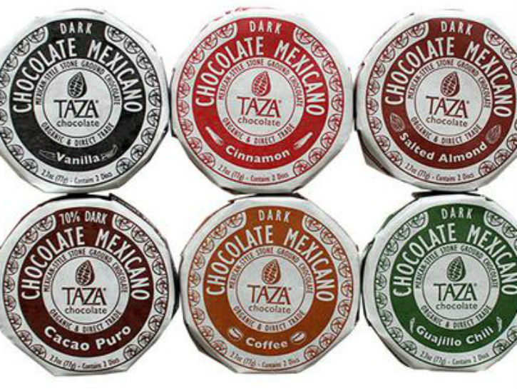Variety of Taza's signature disc shaped chocolate.