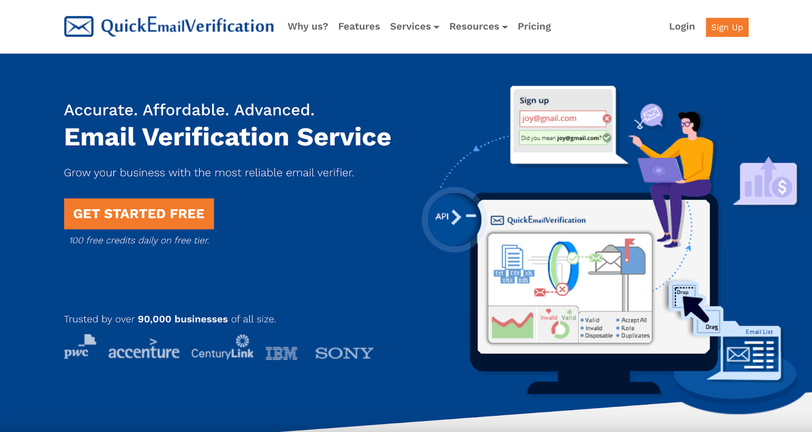 QuickEmailVerification Homepage