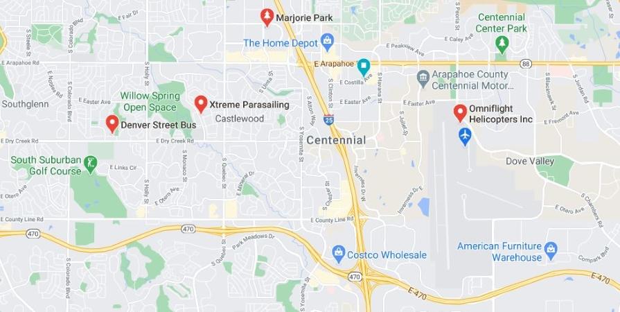 map of Centennial, CO