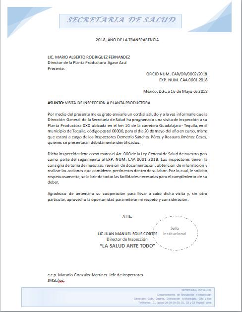 Ejemplo de Oficio - Certificado Colombia
