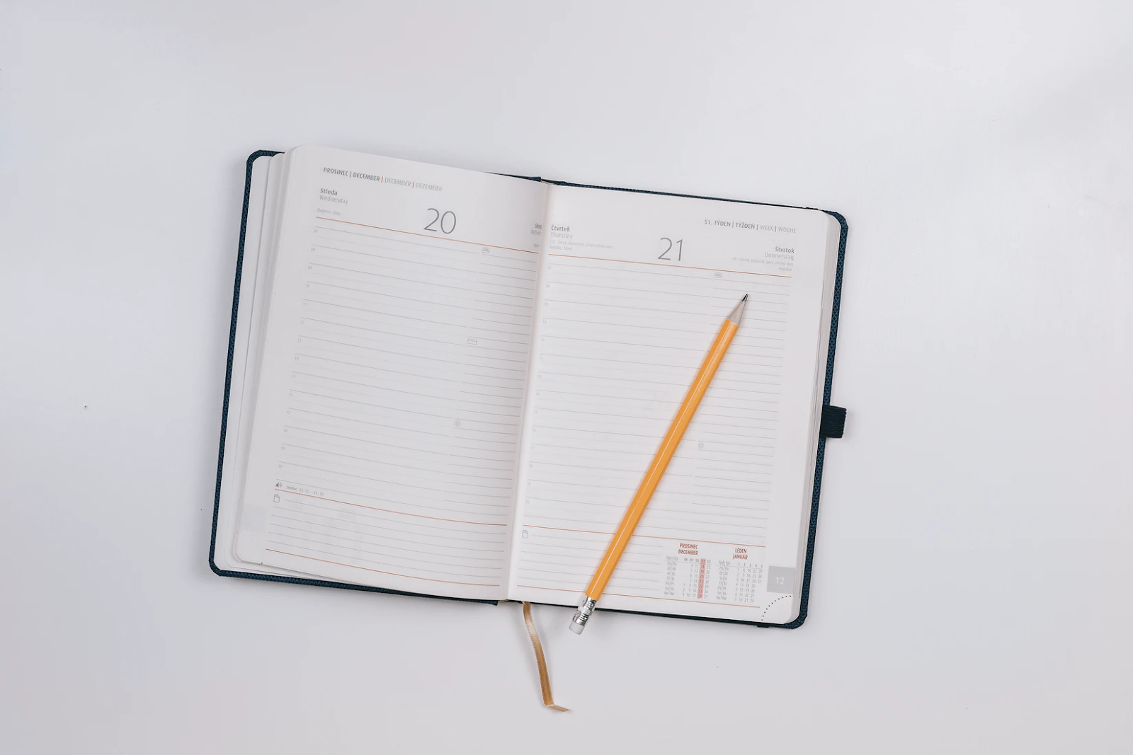 Planner laying flat on a desk