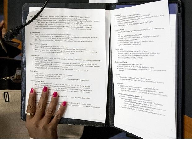 Mark Zuckerberg's notes for first day of Congressional testimony
