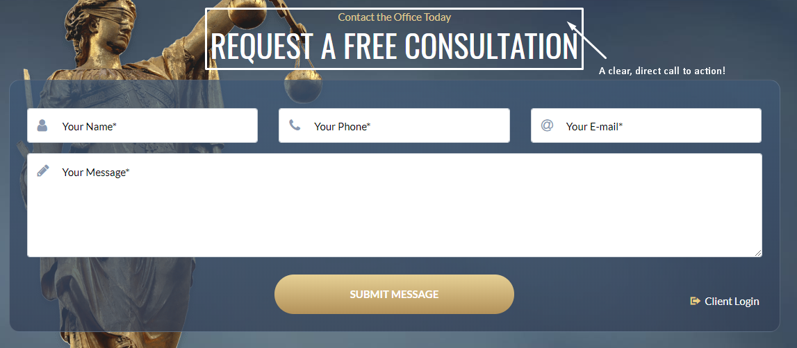A website contact form used to demonstrate a call to action