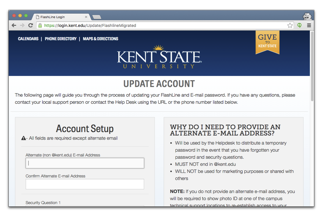 Image of update account page. The account setup section has fields for alternate email address