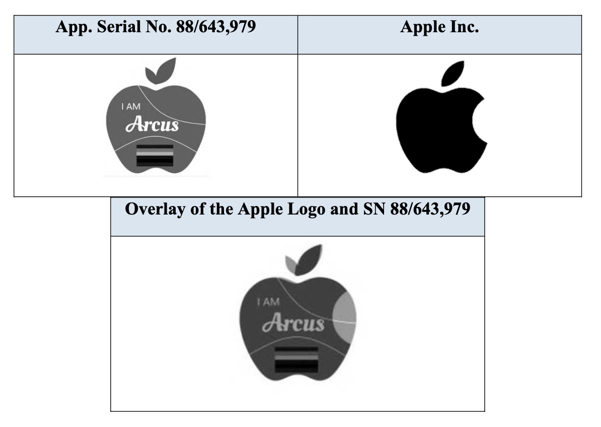 An overlay of the applied-for logo and Apple's corporate logo.