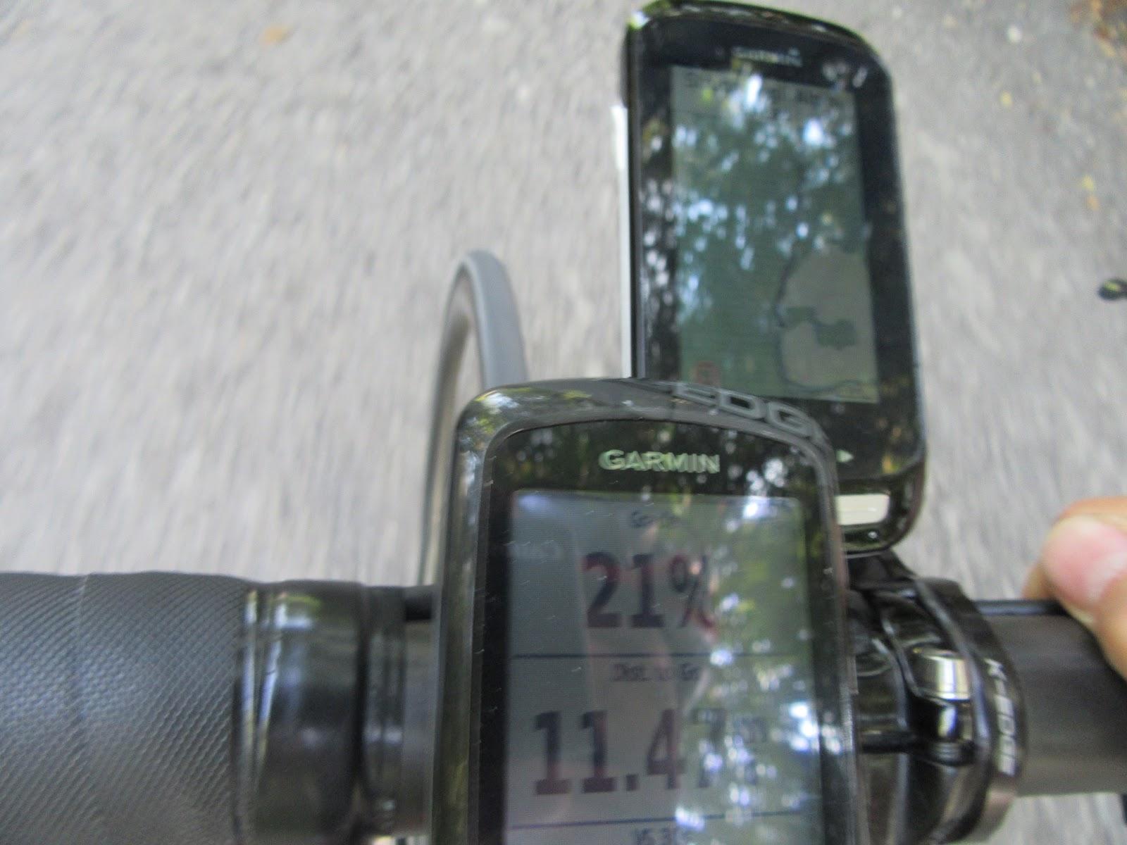 Biking Monte Grappa from Possagno - garmin showing 21% grade
