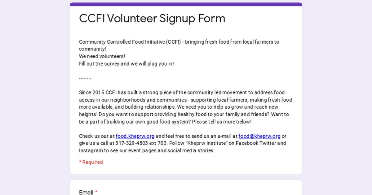 ccfi volunteer signup form