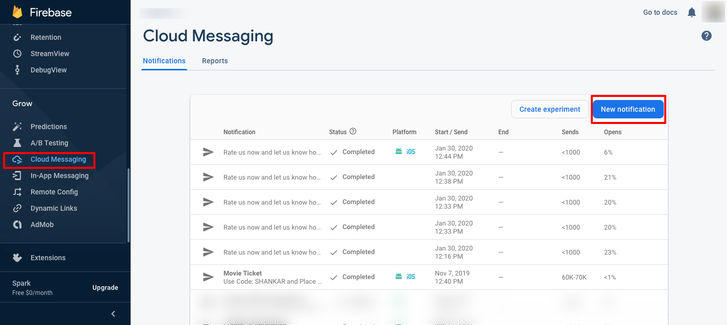 Image showing how to create a new notification using Firebase Cloud Messaging