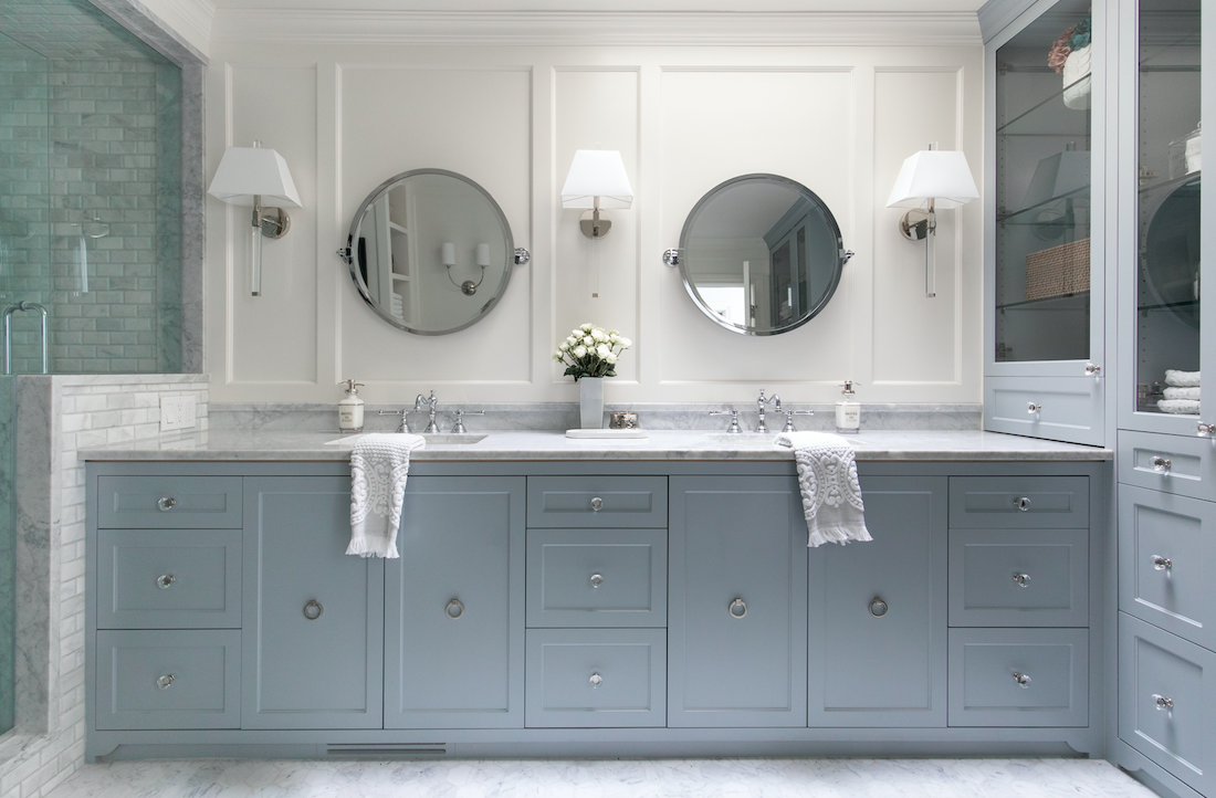 Fresh, traditional master suite bathroom design and renovation with double vanity in Calgary