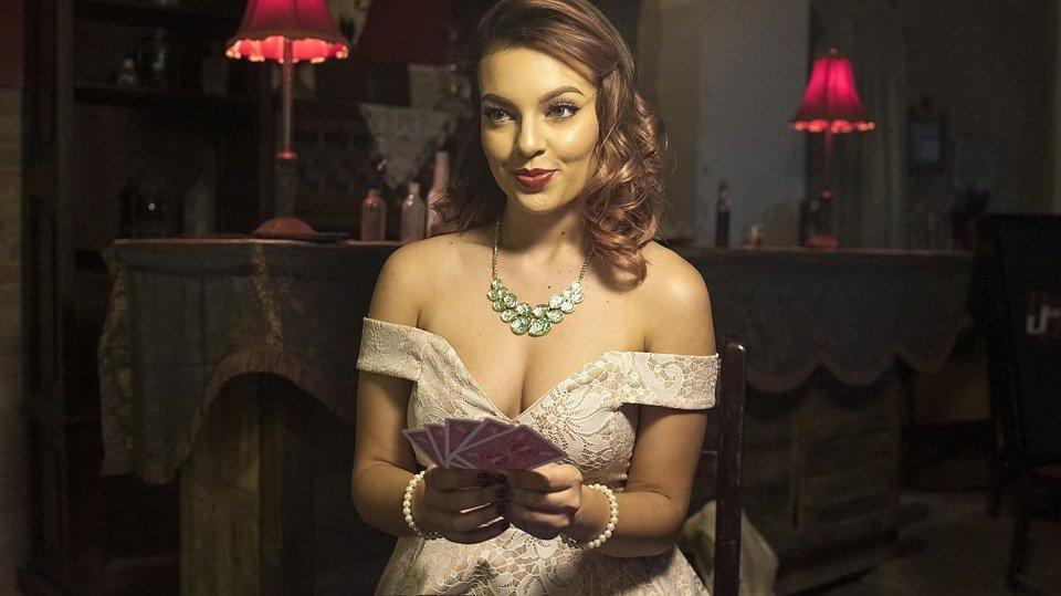 Playing Poker, Beautiful Lady, Poker, Sexy Lady