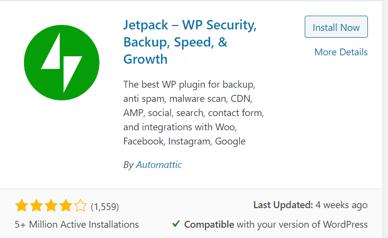 jetpack WordPress social media plugin