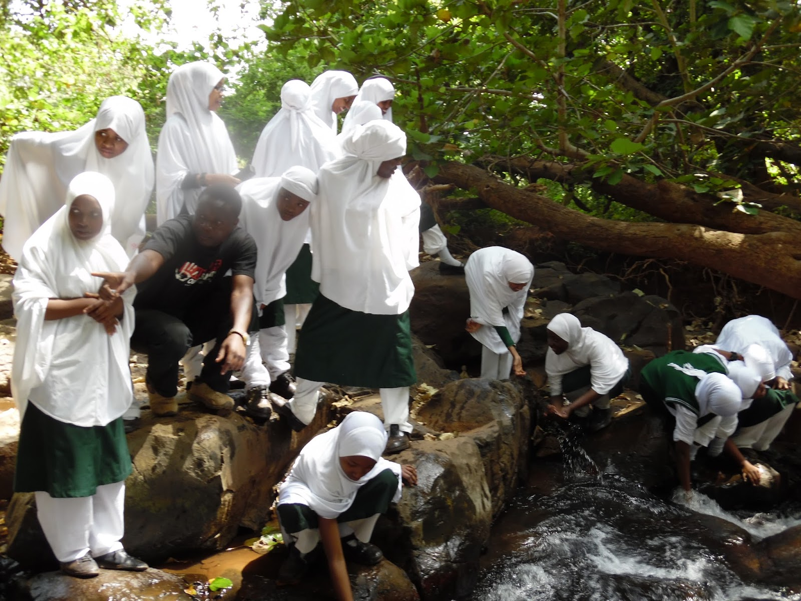 Group of students examining conditions at a spring (Courtesy of  KEEN)