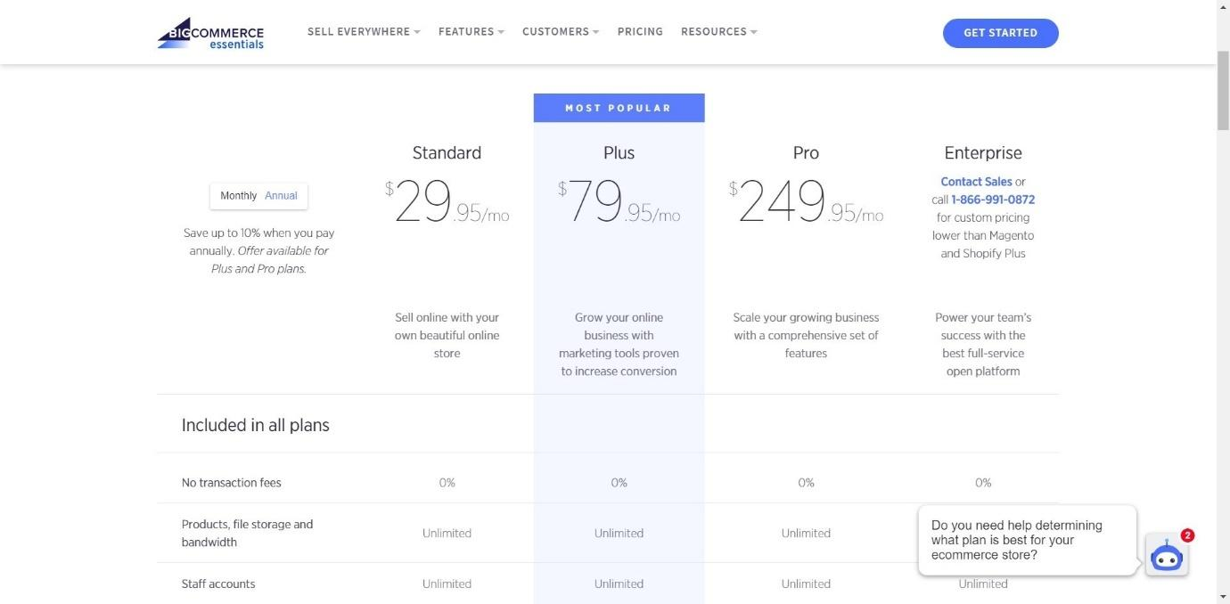 BigCommerce Pricing table