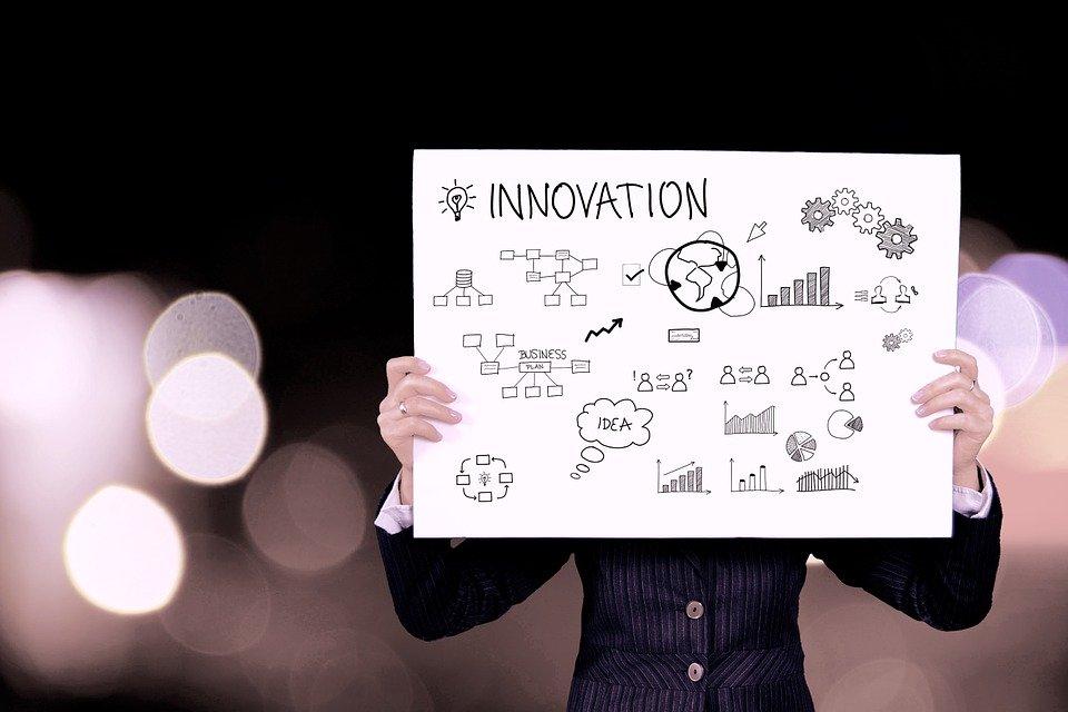 技術革新, ビジネス, 情報, プレゼンテーション, グラフ, アイコン, 説明します, ホワイト ボード