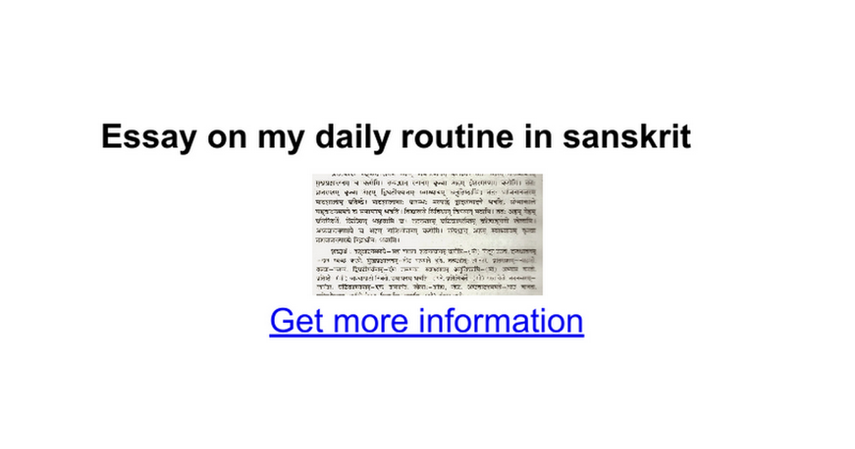 essay on my daily routine in sanskrit google docs