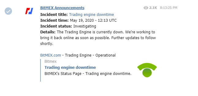 Screengrab showing BitMEX's announcement on trading engine downtime (Source: Twitter)
