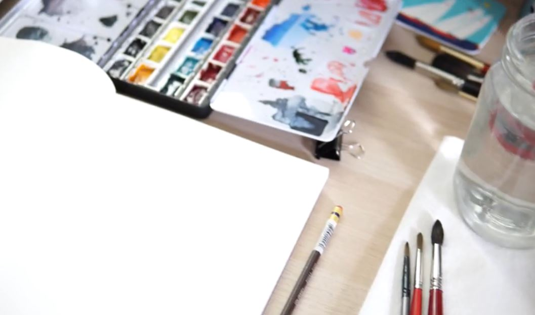 watercolor set up