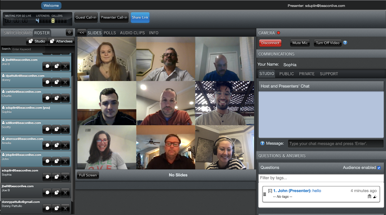 Screenshot Of BeaconLive platform