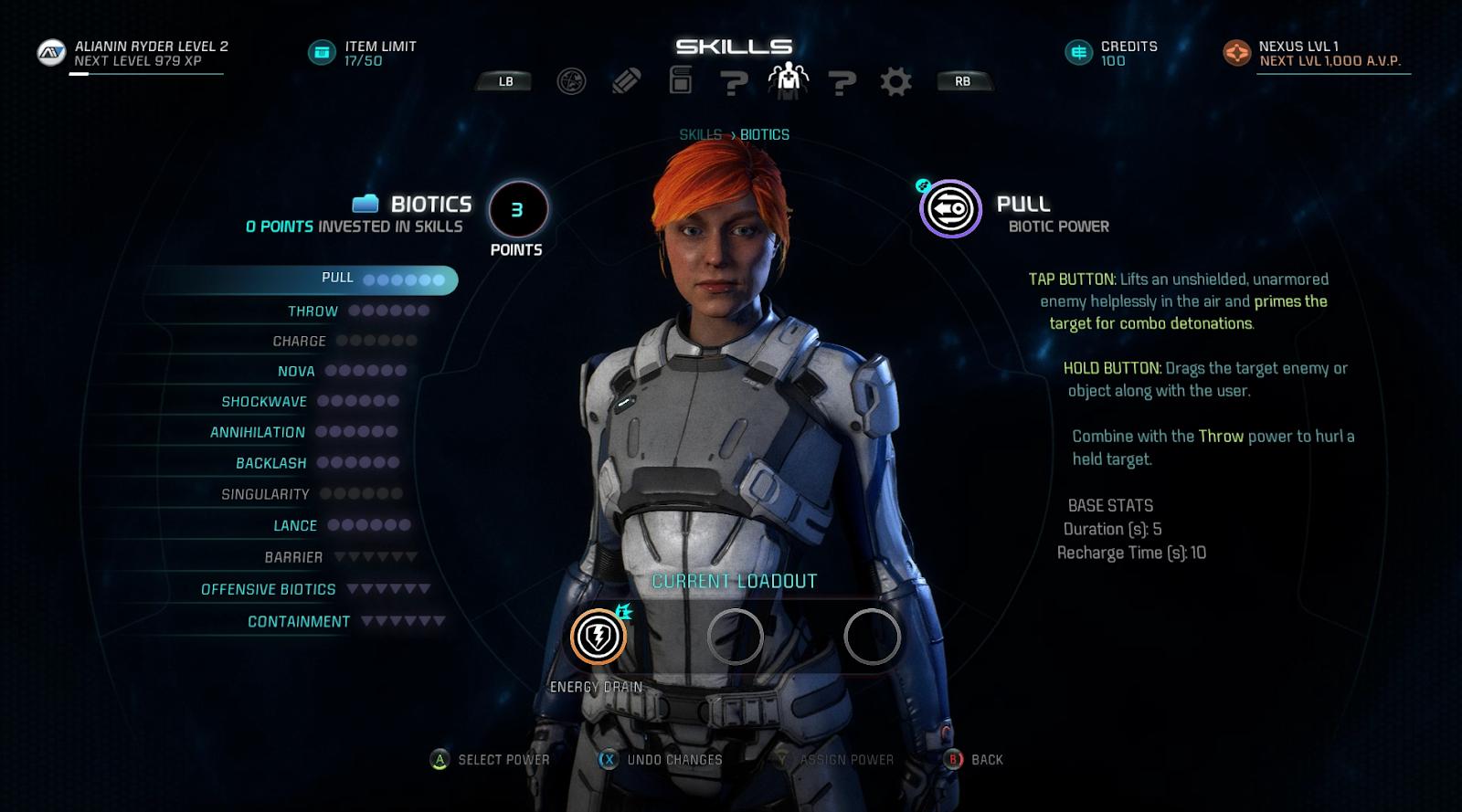 Mass Effect: Andromeda - Biotics Skills