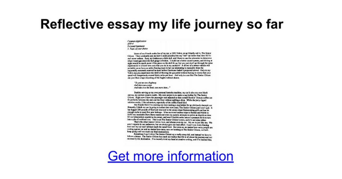 reflective essay my life journey so far google docs
