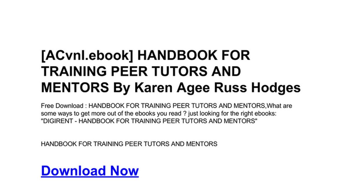 Handbook For Training Peer Tutors And Mentorsc Google Docs