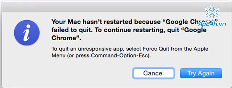 máy Mac không tắt nguồn được