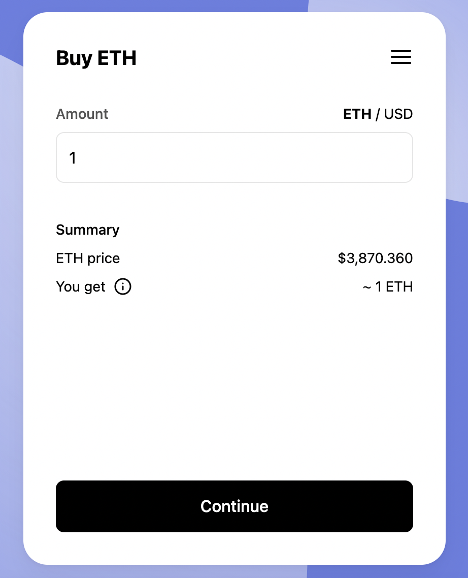 Screenshot of MoonPay's widget to buy ETH with a credit card.