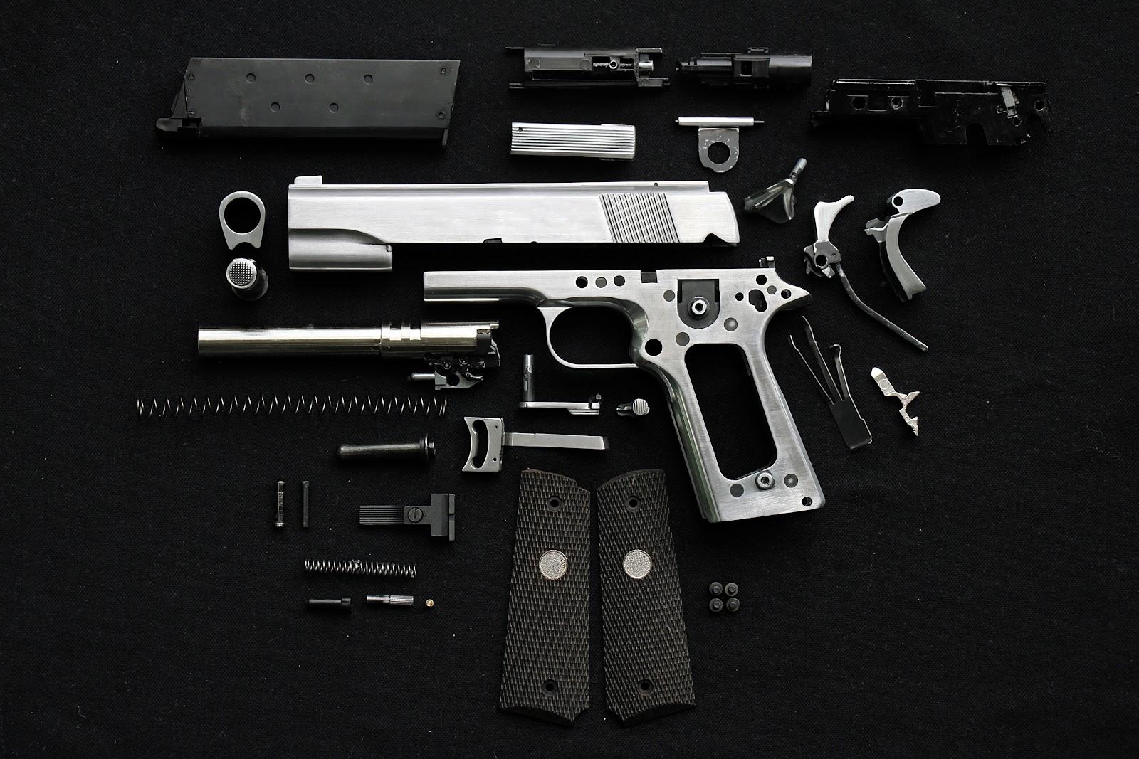 a full disassembled pistol