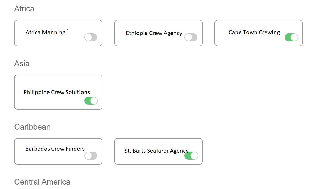 Screenshot of the Martide website showing manning agents in the system