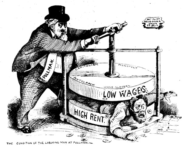 "This Chicago political cartoon from 1894 was inspired by the Pullman Railroad Strike. The worker is being squeezed between low wages. and high rents by his ""fat-cat"" employer."