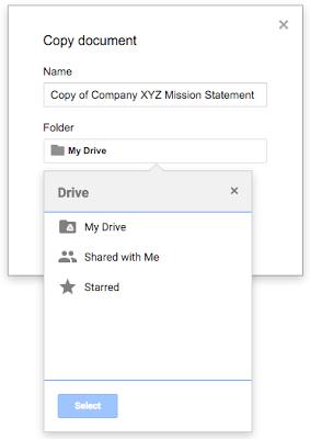 Chooseafile'sfolderlocationwhenyoumakeacopyinDocs,Sheets,andSlidesscreenshot