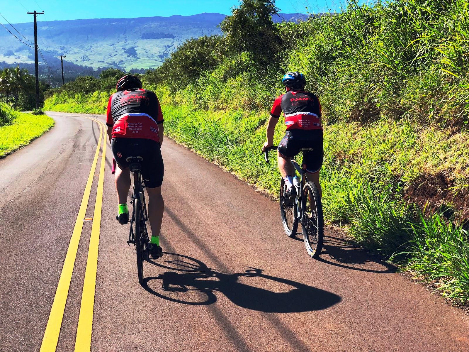 Cycling up Pulehu Road on way to Waipoli Road