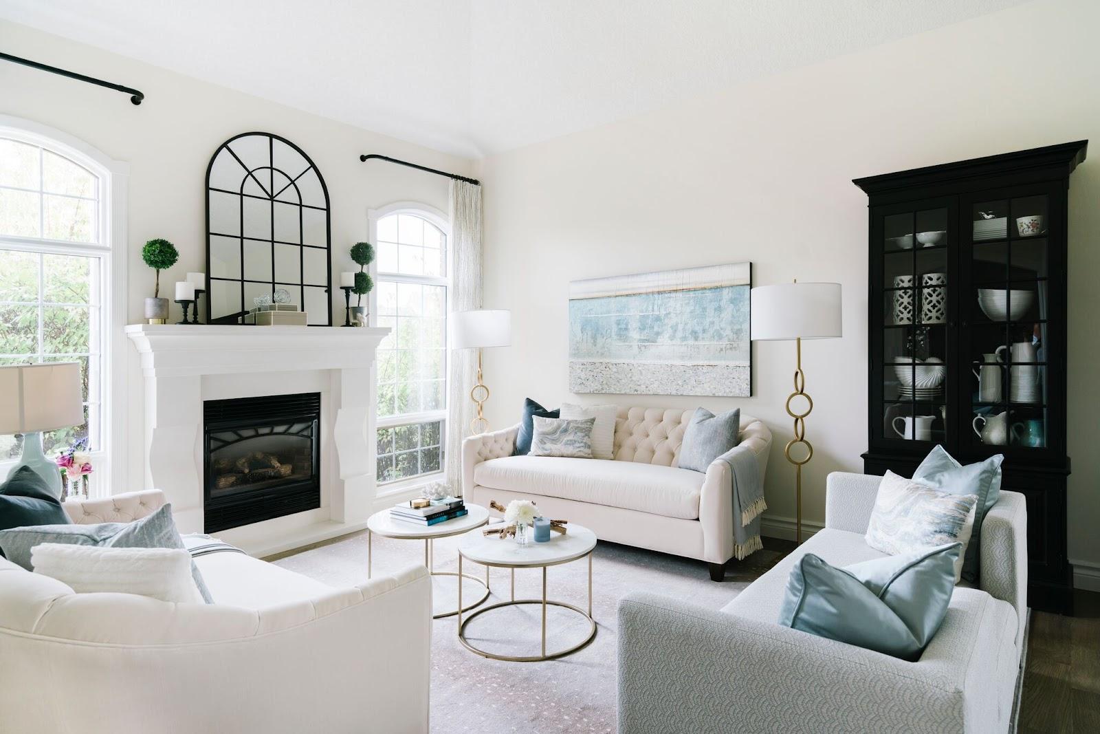 leanne bunnell interiors turnkey design service living room window pane mirror fireplace black hutch art calgary