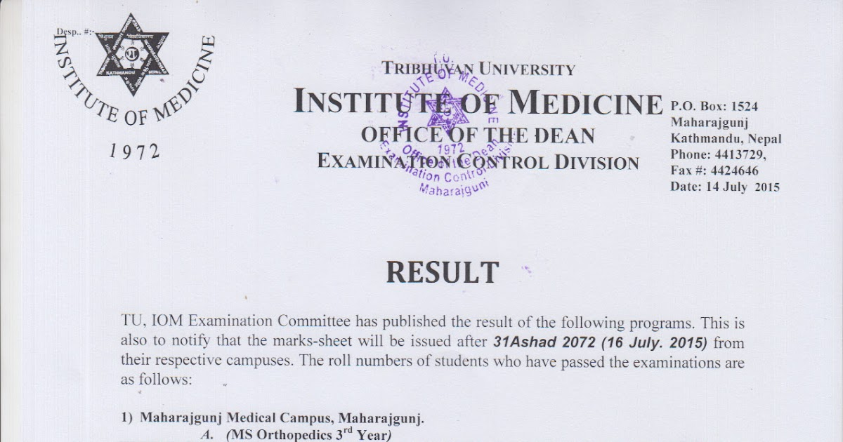 Result of MS Orthopedics 3rd Year/ MD Medical Biochemistry 1st Year