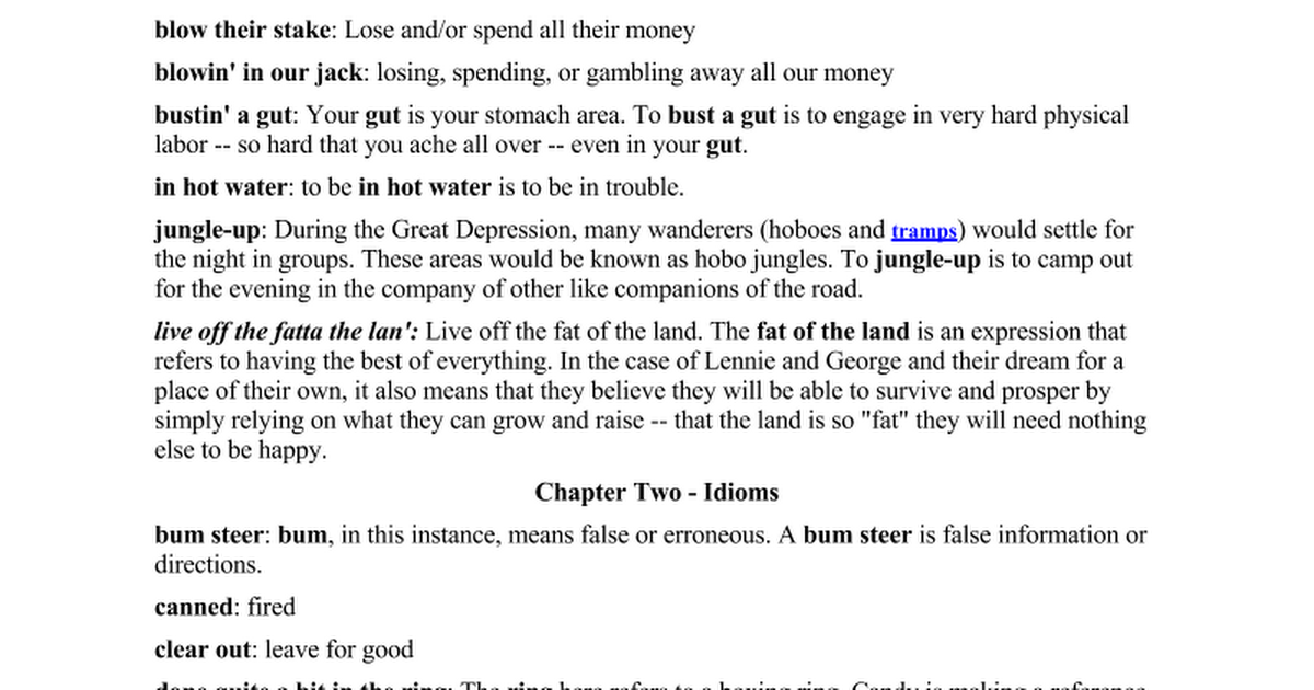 Idioms Google Docs – Of Mice and Men Worksheet