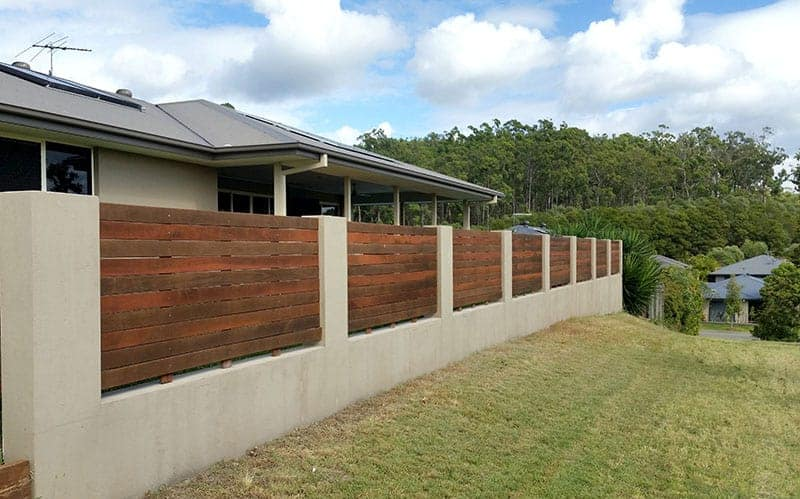 Concrete and Timber Garden Fence