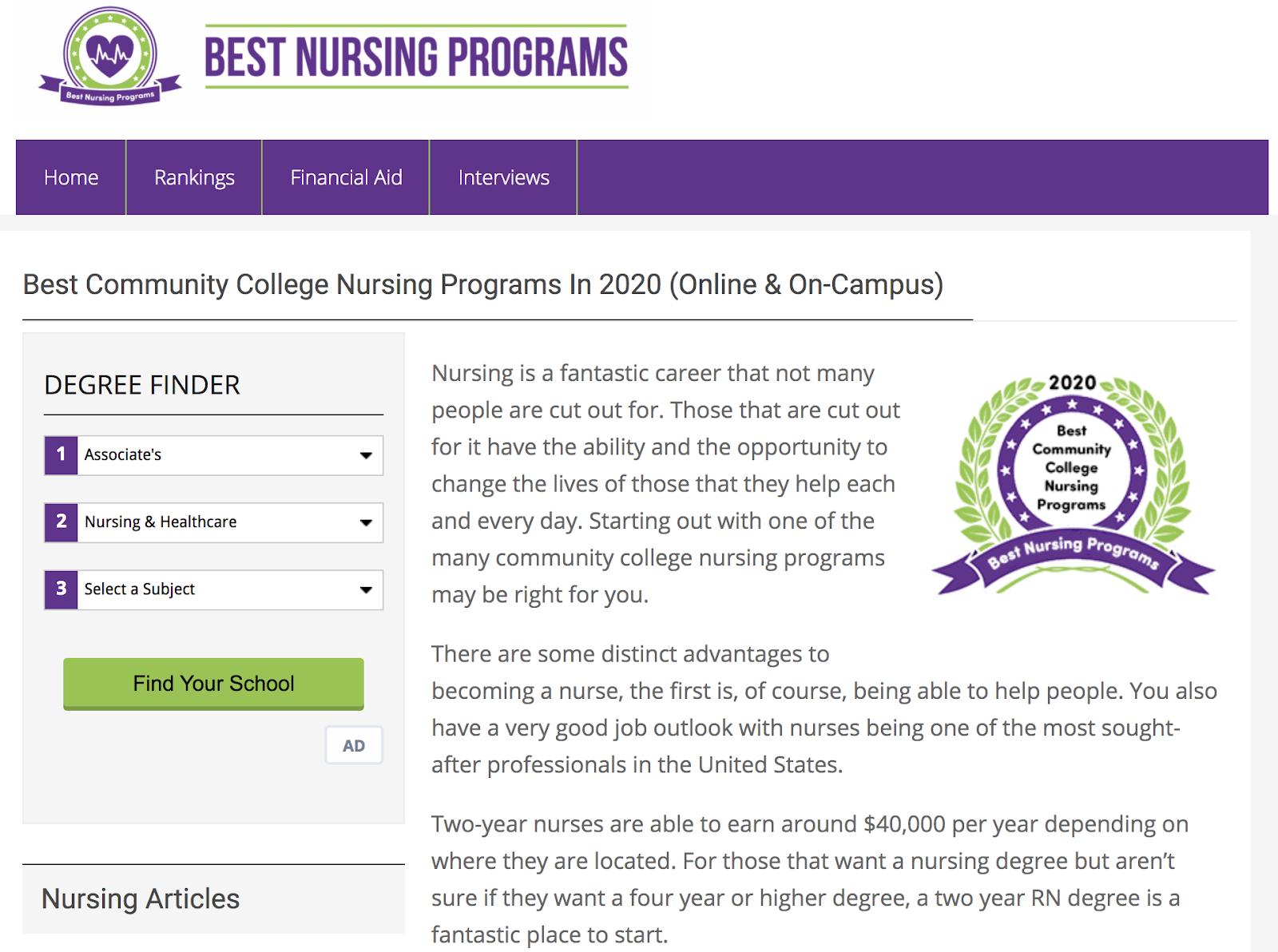 comparison website top nursing programs