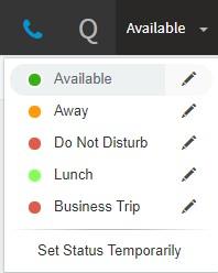 """""""Set Status"""" menu options in 3CX Web Client"""